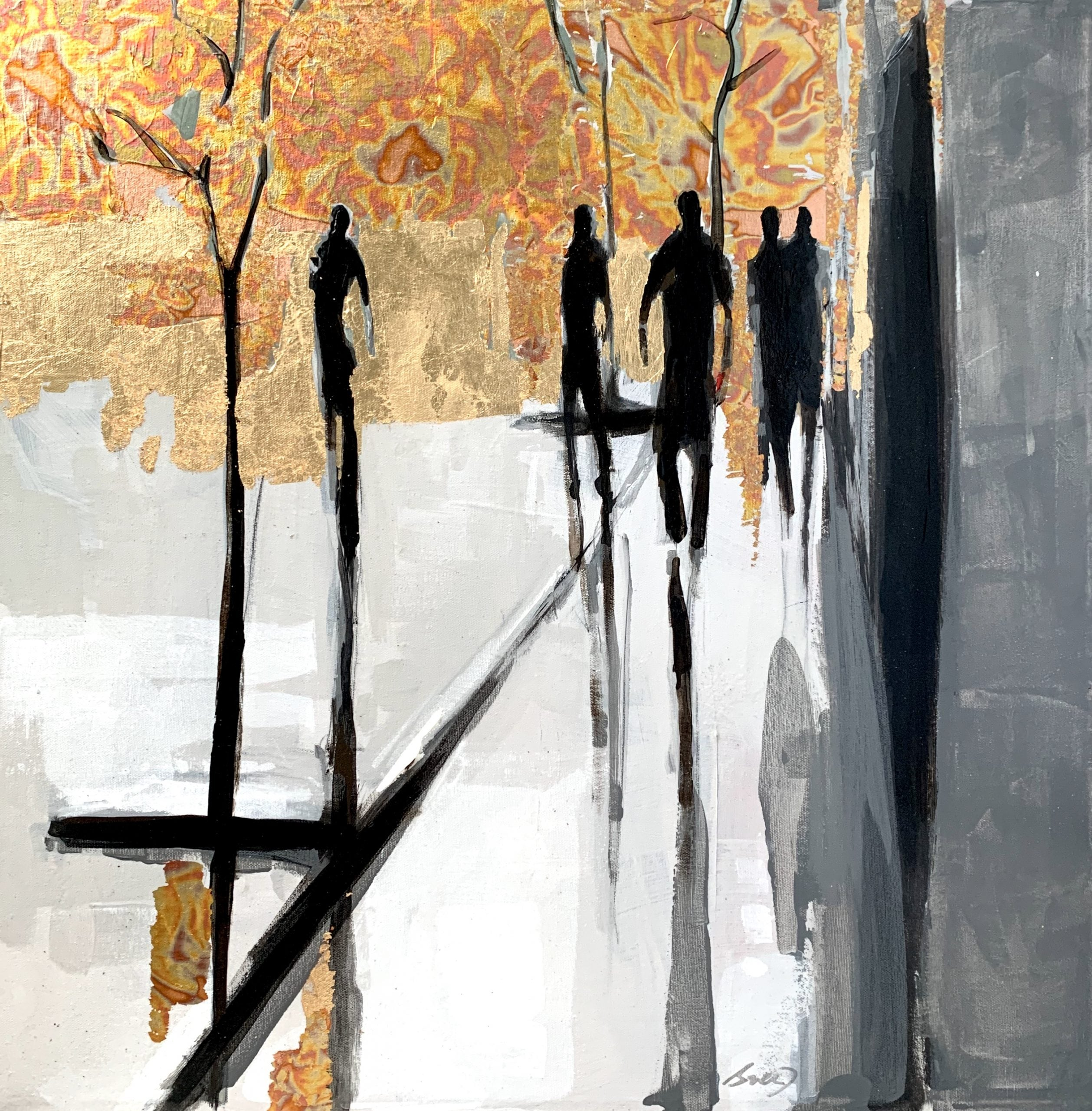L'écho, mixed media cityscape painting by Marie-France Boisvert | Effusion Art Gallery + Glass Studio, Invermere BC