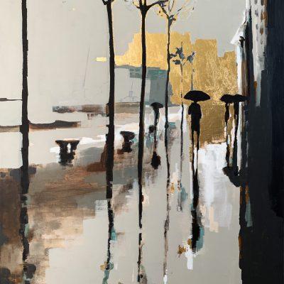 Le Quai des Brumes, mixed media cityscape painting by Marie-France Boisvert   Effusion Art Gallery + Cast Glass Studio, Invermere BC
