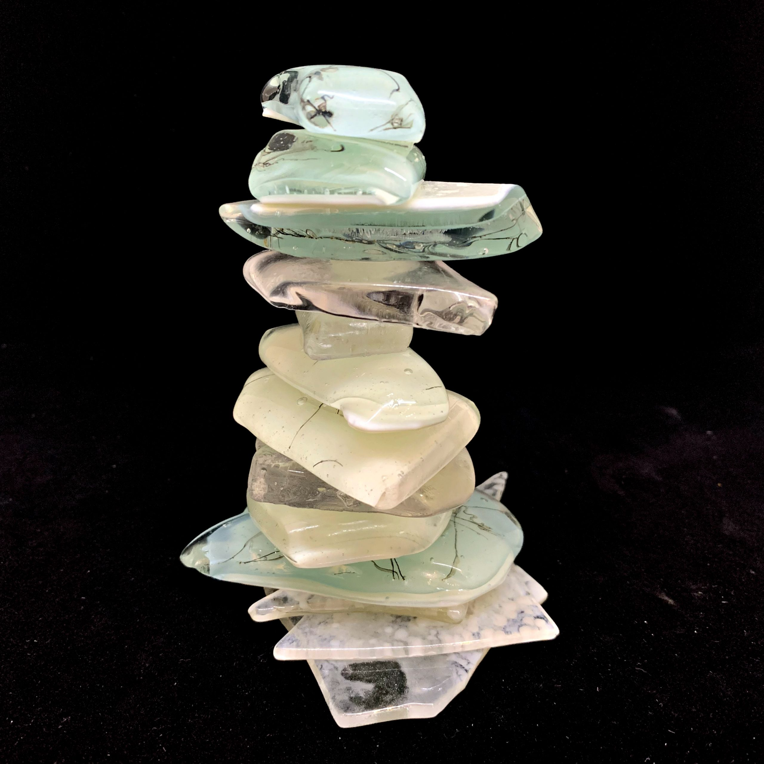 Rocky Mountain Cairn 27, cast glass sculpture by Heather Cuell | Effusion Art Gallery + Cast Glass Studio, Invermere BC
