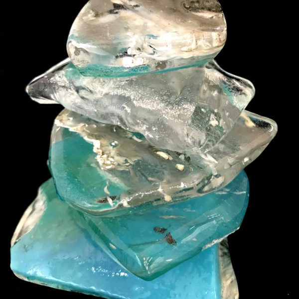 Cast Glass Rocky Mountain Cairn 19 sculpture by Heather Cuell   Effusion Art Gallery + Cast Glass Studio, Invermere BC