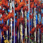 In the Morning Sun, birch tree painting by Kimberly Kiel | Effusion Art Gallery +  Cast Glass Studio, Invermere BC