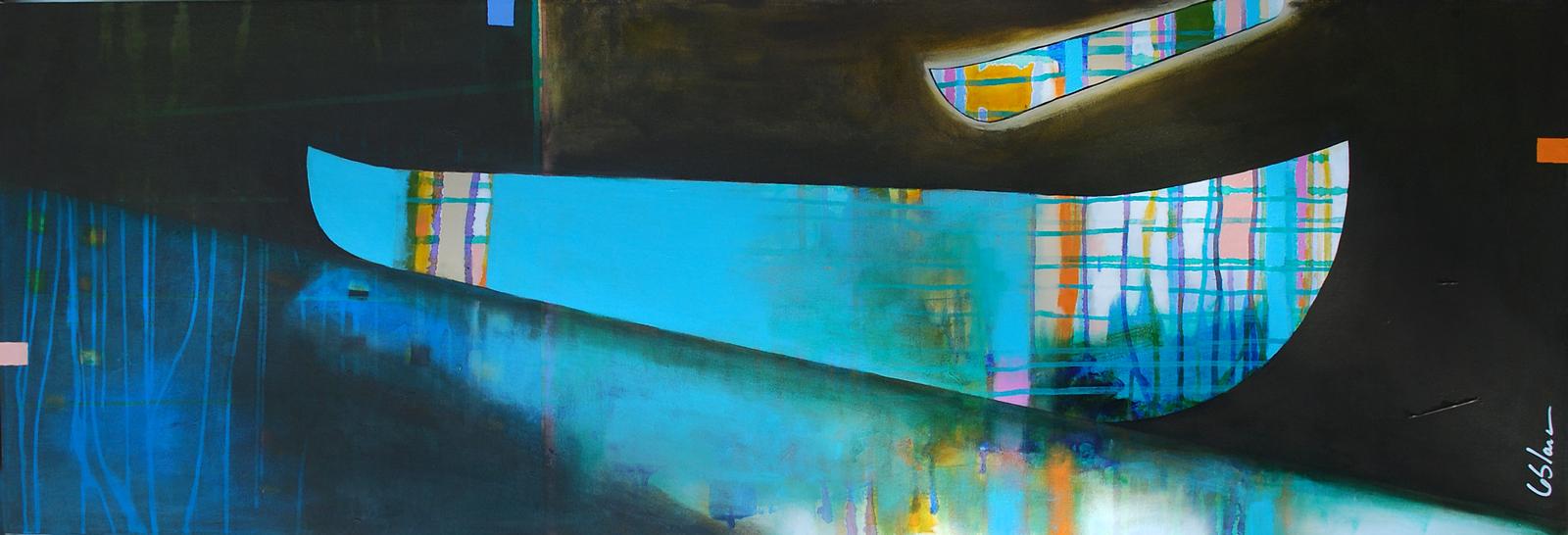 Les Reflets tout Bleu, mixed media canoe painting by Sylvain Leblanc | Effusion Art Gallery + Glass Studio, Invermere BC