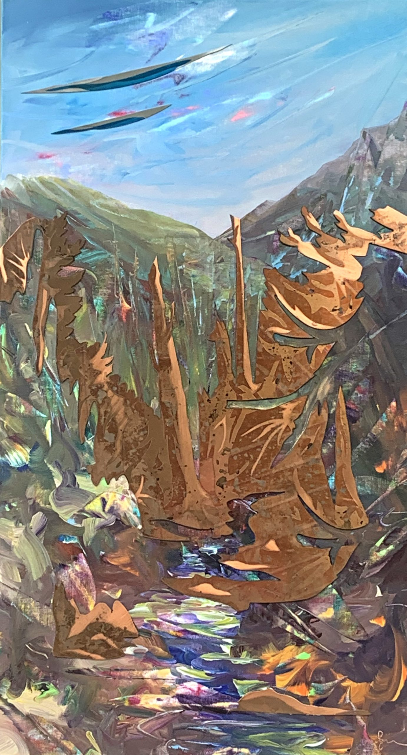 Copper Canyon, mixed media landscape painting by Joel Masewich | Effusion Art Gallery + Cast Glass Studio, Invermere BC