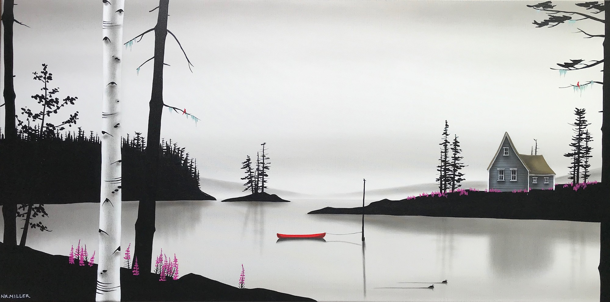 A Frolic in the Fireweed, mixed media landscape painting by Natasha Miller | Effusion Art Gallery + Cast Glass Studio, Invermere BC