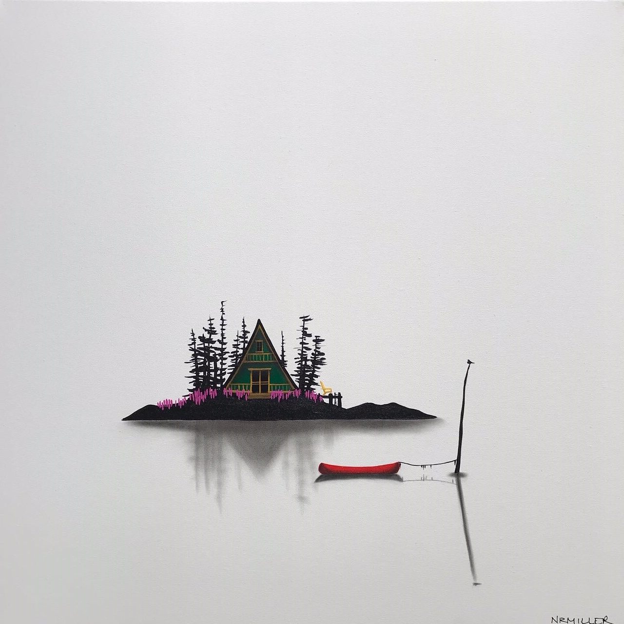 Take Me Down, mixed media landscape painting by Natasha Miller | Effusion Art Gallery + Glass Studio, Invermere BC