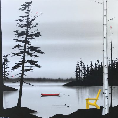 The Morning Ritual, mixed media landscape painting by Natasha Miller   Effusion Art Gallery + Glass Studio, Invermere BC