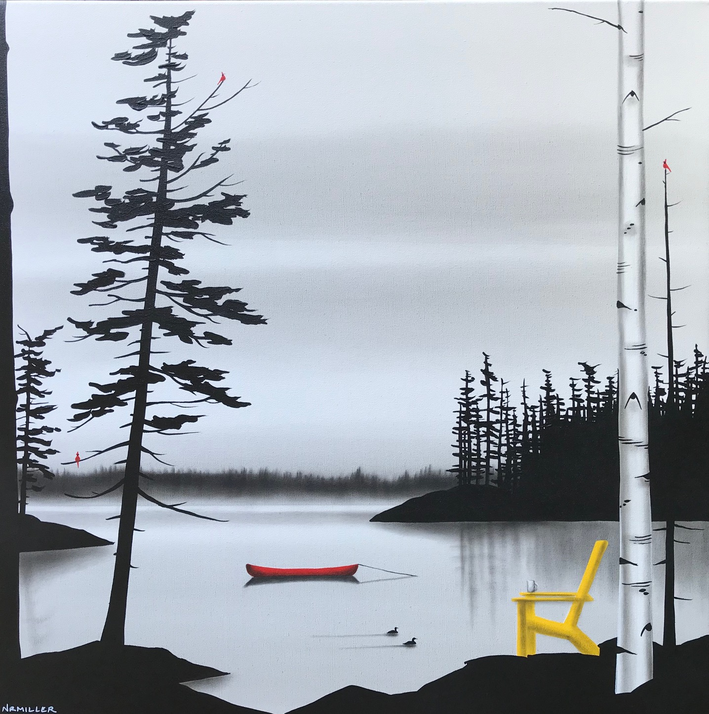 The Morning Ritual, mixed media landscape painting by Natasha Miller | Effusion Art Gallery + Glass Studio, Invermere BC