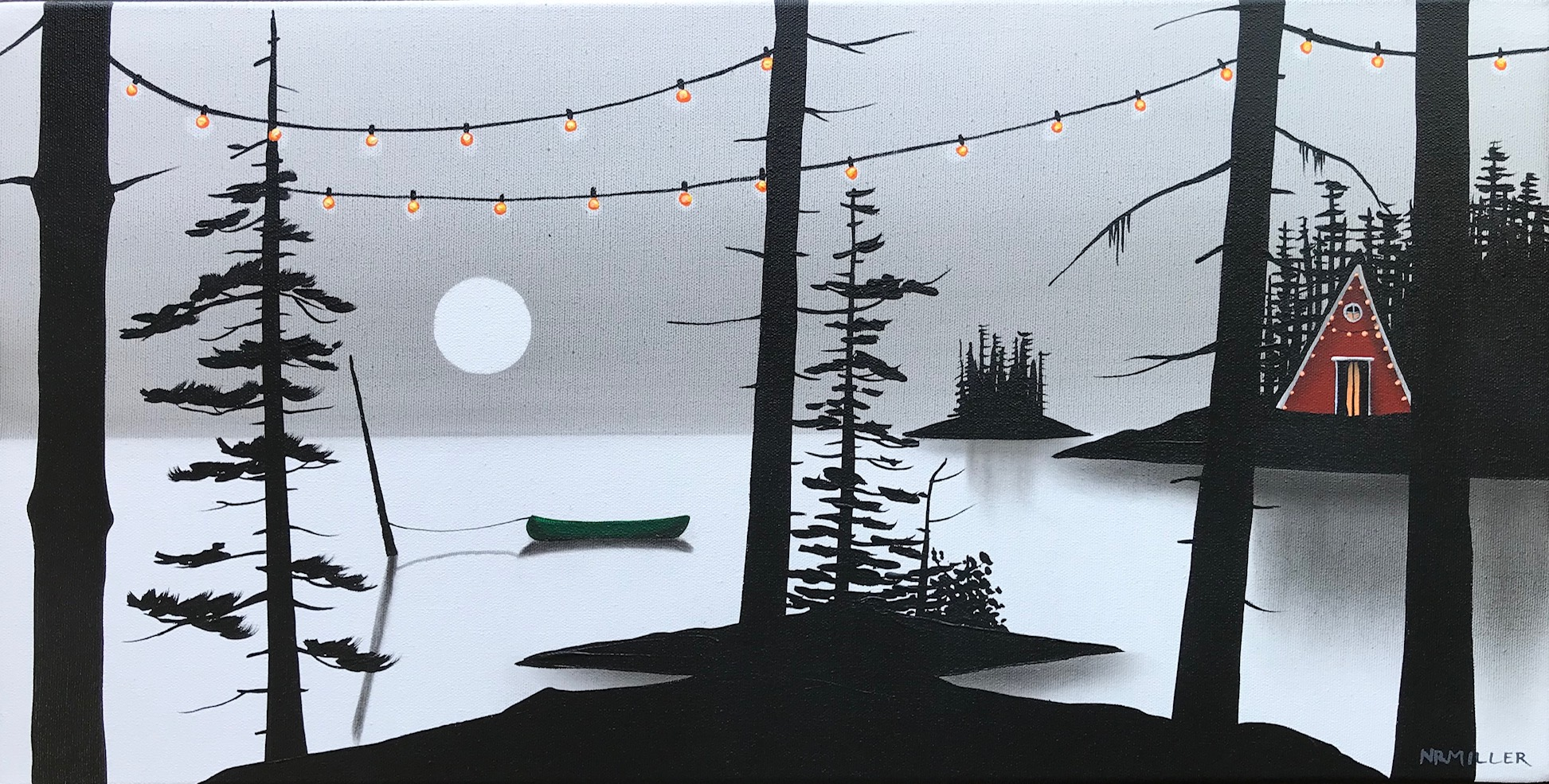 We Bundled Up, mixed media landscape painting by Natasha Miller | Effusion Art Gallery + Glass Studio, Invermere BC