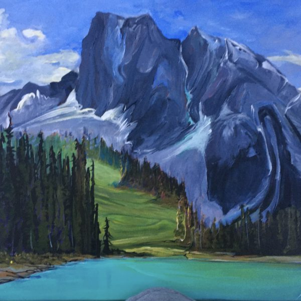 Emerald Lake Sunny Meadow, acrylic landscape painting by Heather Pant   Effusion Art Gallery + Glass Studio, Invermere BC