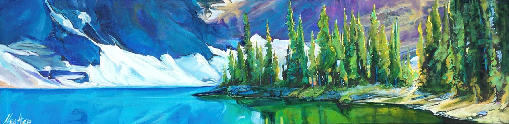 Floe Lake Illumination, acrylic landscape painting by Heather Pant | Effusion Art Gallery + Cast Glass Studio, Invermere BC