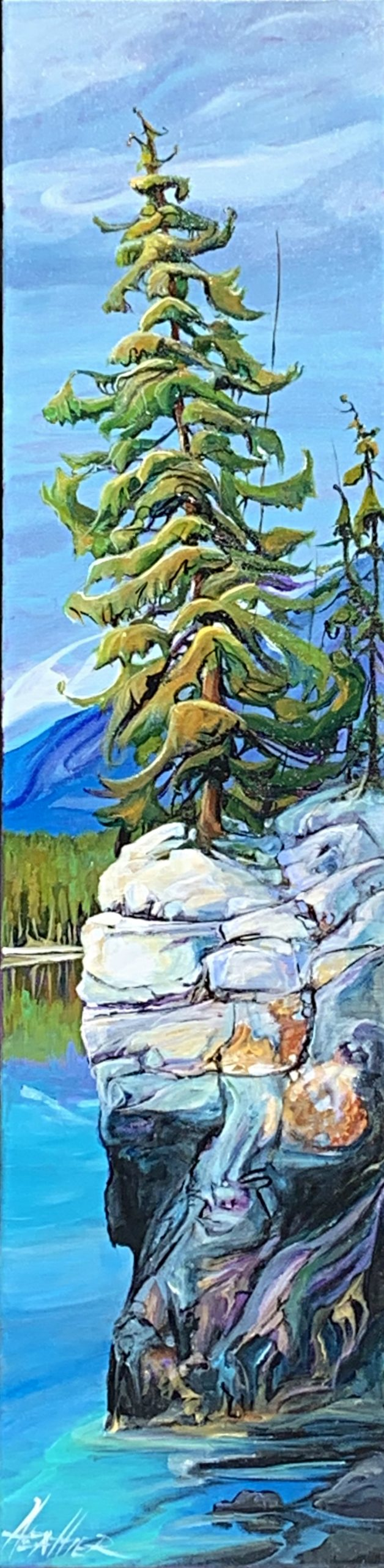 On the Edge, acrylic tree landscape painting by Heather Pant | Effusion Art Gallery + Glass Studio, Invermere BC