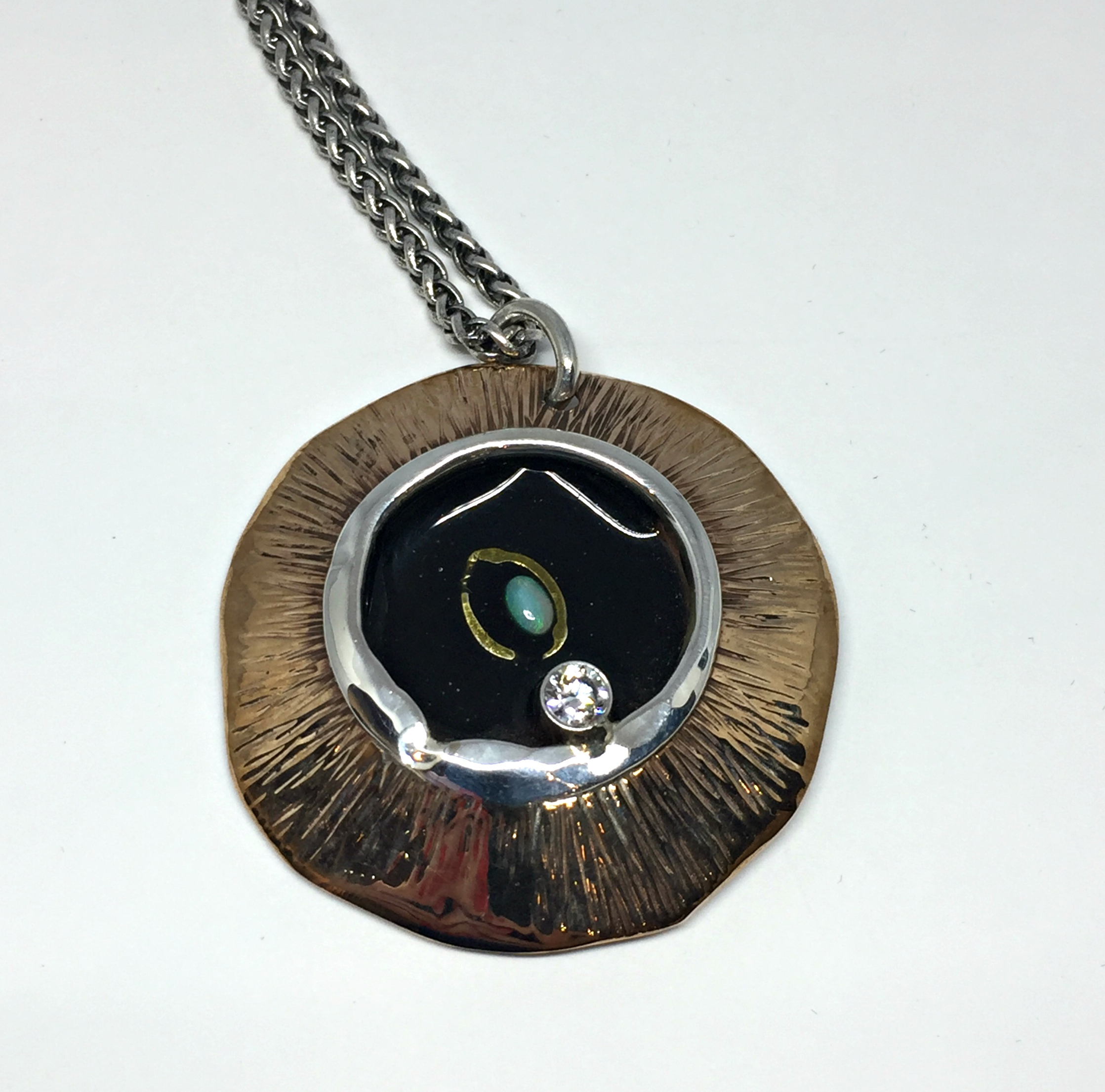 Peek a boo!, one of a kind necklace by Karyn Chopik | Effusion Art Gallery + Cast Glass Studio, Invermere BC