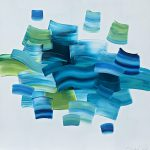 Blue Waves, original abstract painting by Stephanie Rivet | Effusion Art Gallery + Cast Glass Studio, Invermere BC