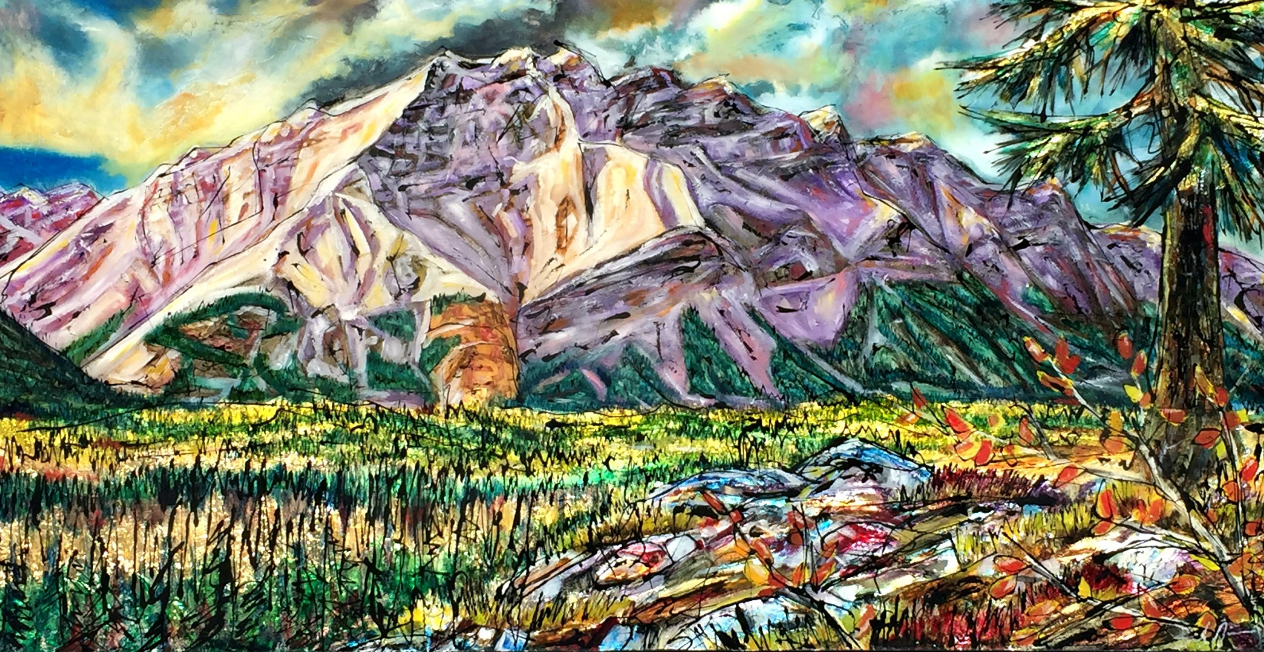Wide Cascade, mixed media landscape painting by David Zimmerman | Effusion Art Gallery + Glass Studio, Invermere BC