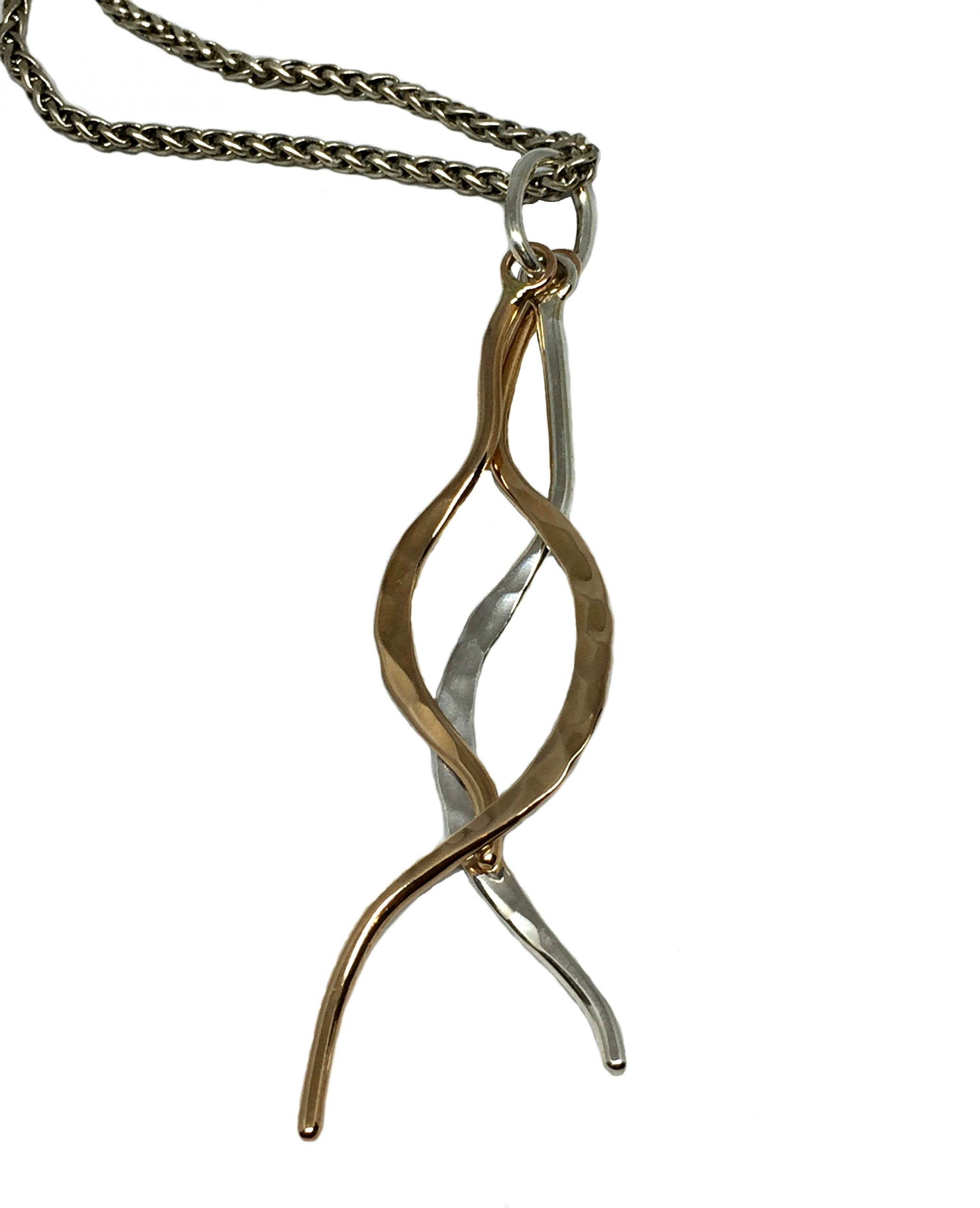 Sterling and bronze pendant by Karyn Chopik   Effusion Art gallery + Cast Glass Studio, Invermere BC