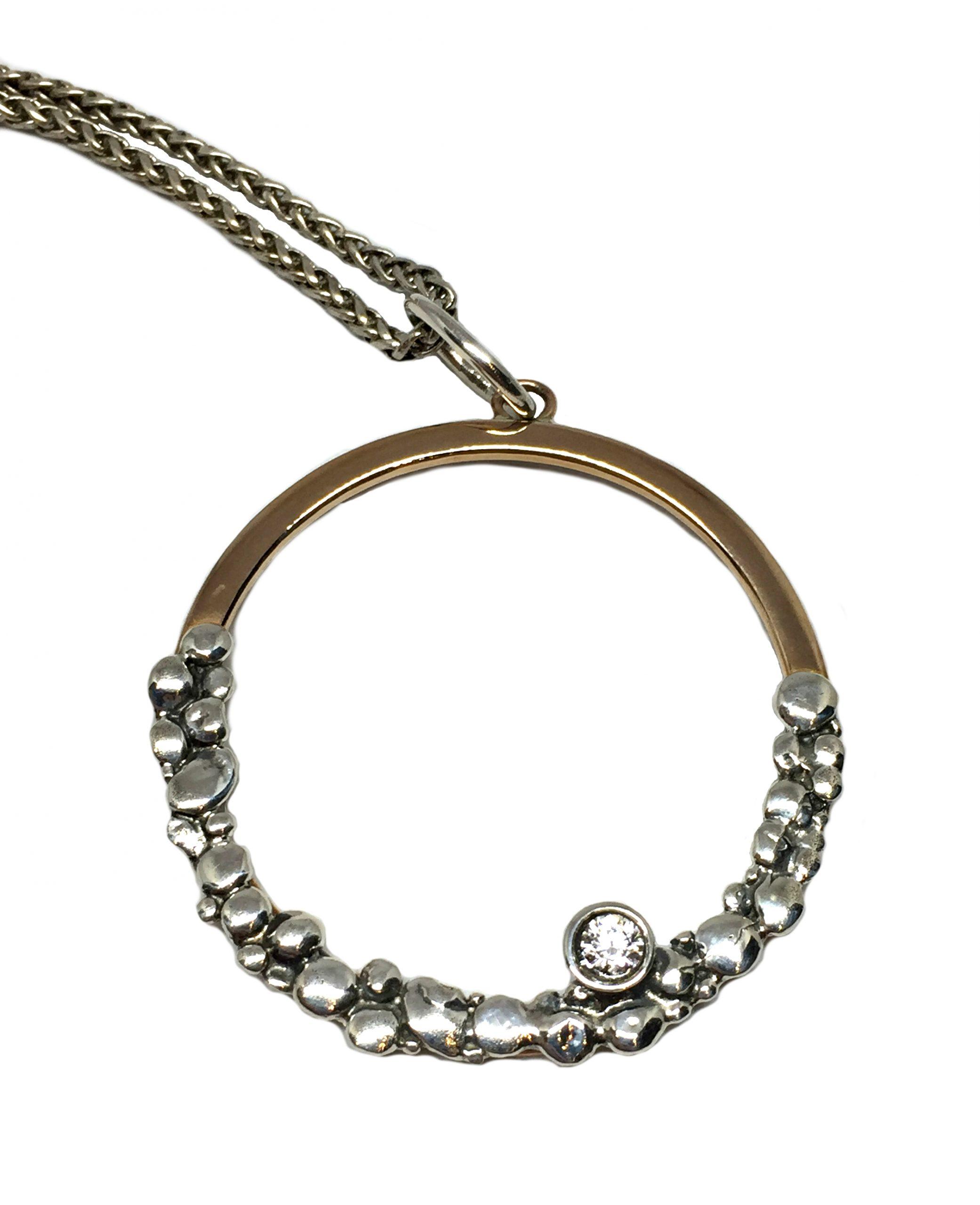 Sterling silver, bronze, + CZ pendant by Karyn Chopik | Effusion Art gallery + Cast Glass Studio, Invermere BC