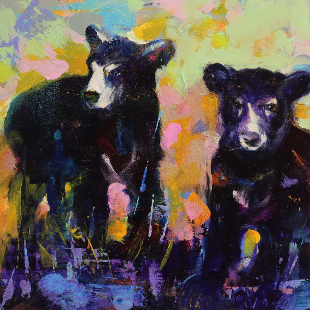 Bear Cubs 4, acrylic black bear cub painting by Verne Busby | Effusion Art Gallery + Glass Studio, Invermere BC