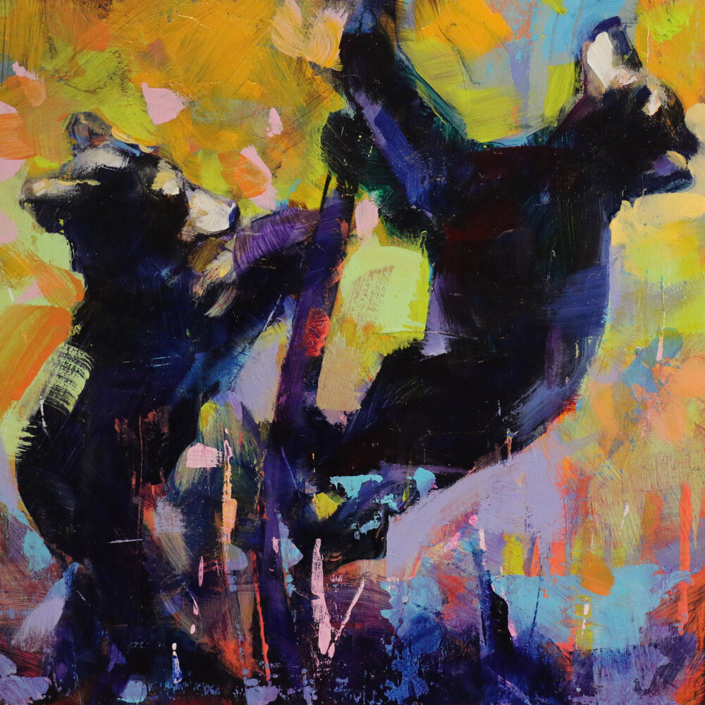 Bear Cubs 7, acrylic black bear cub painting by Verne Busby | Effusion Art Gallery + Glass Studio, Invermere BC