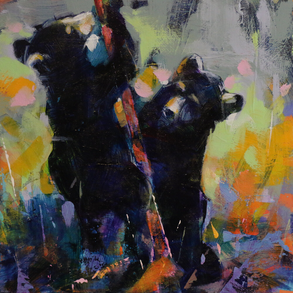 Bear Cubs 8, acrylic black bear cub painting by Verne Busby | Effusion Art Gallery + Glass Studio, Invermere BC