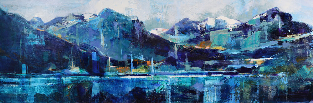 Beginnings of the North Saskatchewan River, acrylic landscape painting by Verne Busby | Effusion Art Gallery + Glass Studio, Invermere BC