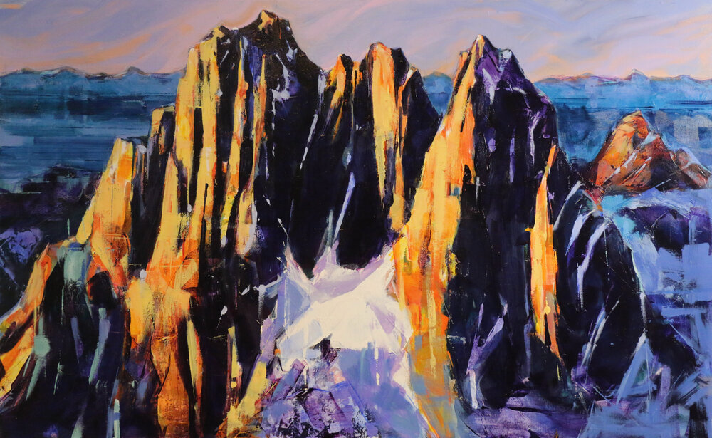 Howser Spire (Bugaboos), acrylic landscape painting by Verne Busby | Effusion Art Gallery + Glass Studio, Invermere BC