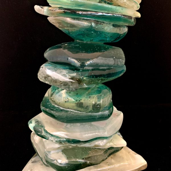 Cast Glass Cairn Sculpture #56 by Heather Cuell   Effusion Art Gallery + Cast Glass Studio, Invermere BC