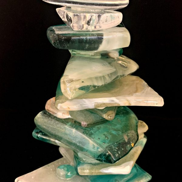 Cast Glass Cairn Sculpture #58 by Heather Cuell   Effusion Art Gallery + Cast Glass Studio, Invermere BC