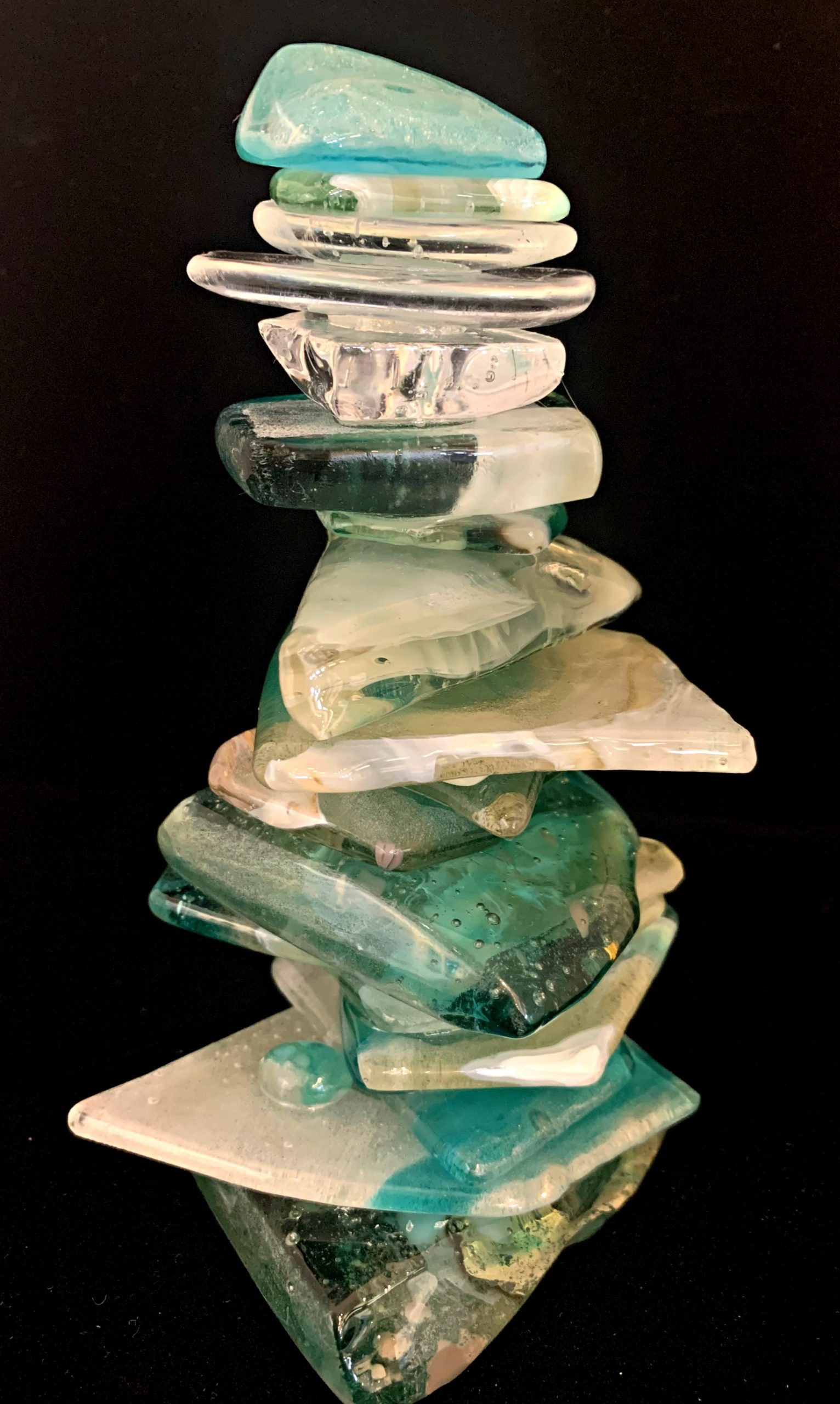 Cast Glass Cairn Sculpture #58 by Heather Cuell | Effusion Art Gallery + Cast Glass Studio, Invermere BC