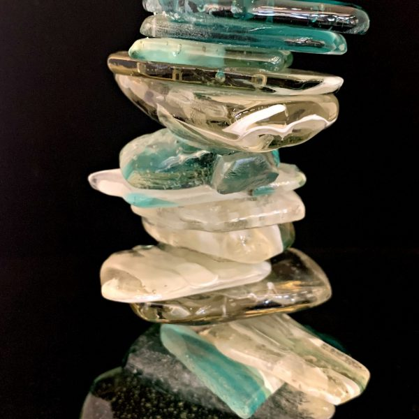 Cast Glass Cairn Sculpture #57 by Heather Cuell   Effusion Art Gallery + Cast Glass Studio, Invermere BC
