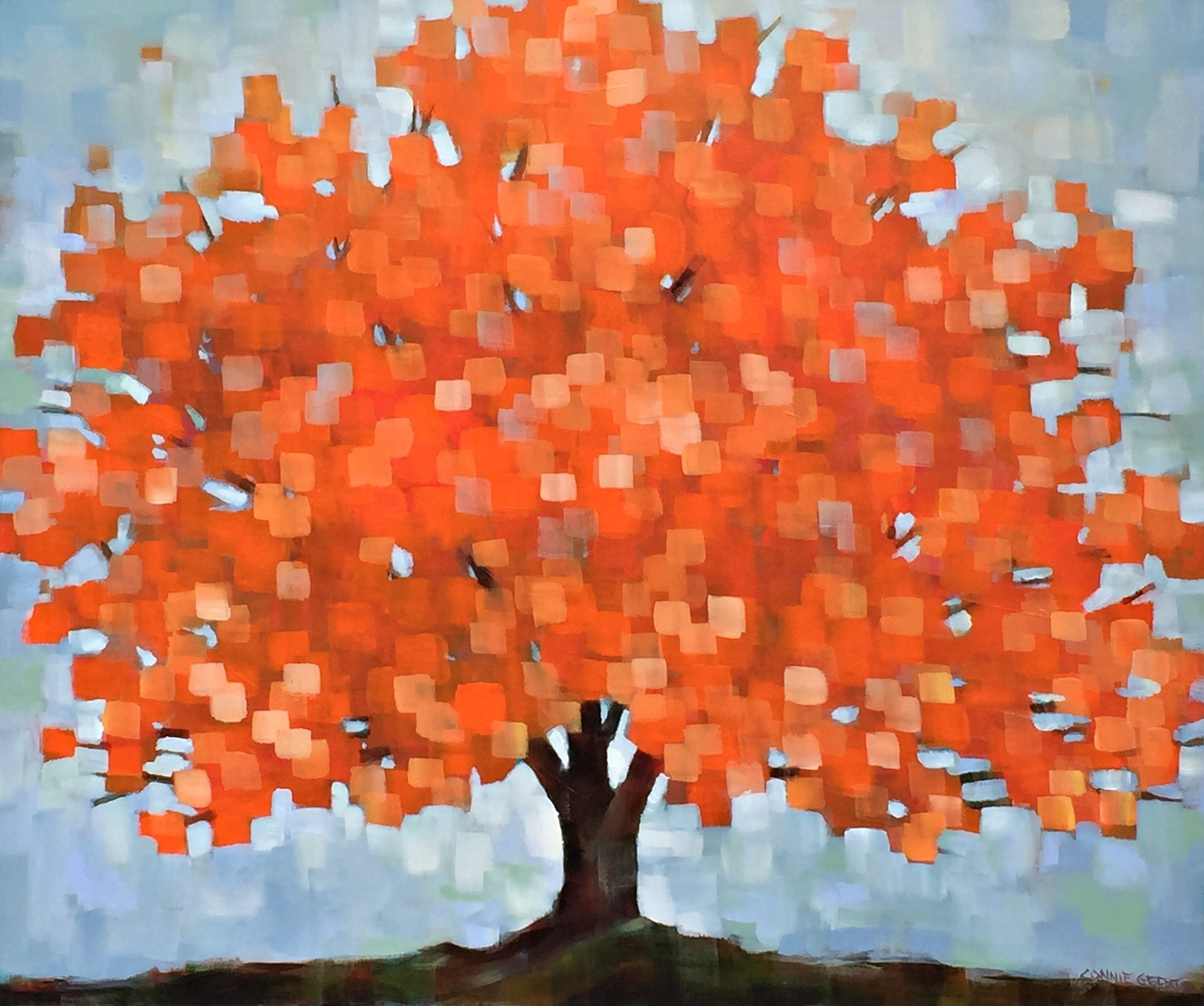 Beautiful Autumn, acrylic tree painting by Connie Geerts | Effusion Art Gallery + Glass Studio, Invermere BC