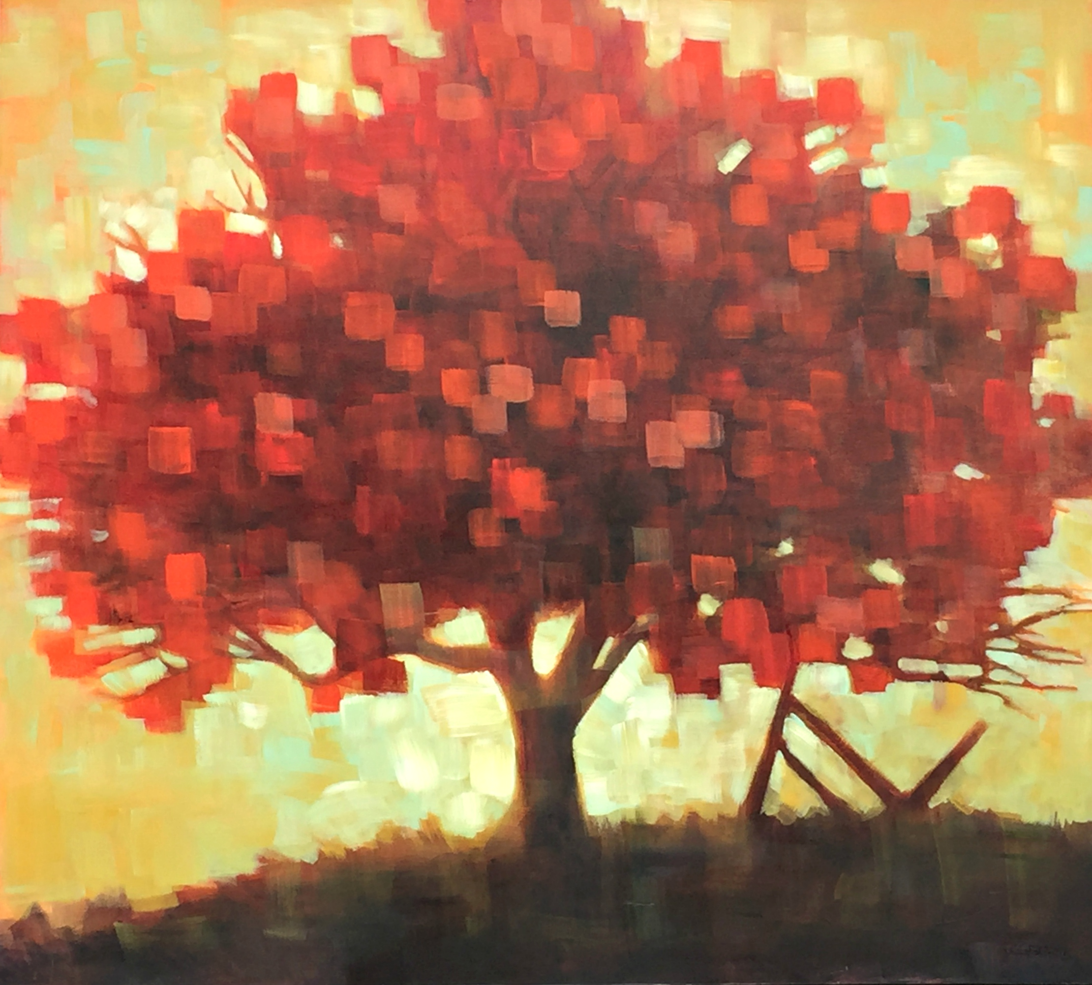 Red Glow, acrylic tree painting by Connie Geerts | Effusion Art Gallery + Glass Studio, Invermere BC