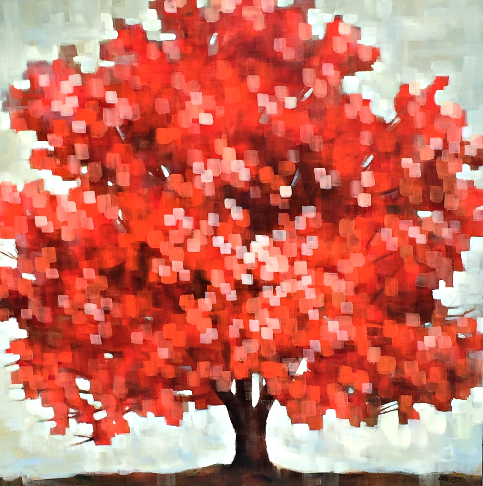 Vibration, acrylic tree painting by Connie Geerts | Effusion Art Gallery + Glass Studio, Invermere BC