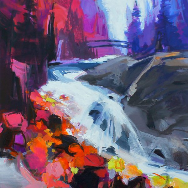 Bridge Over Tumbling Water, acrylic landscape painting by Becky Holuk   Effusion Art Gallery + Glass Studio, Invermere BC