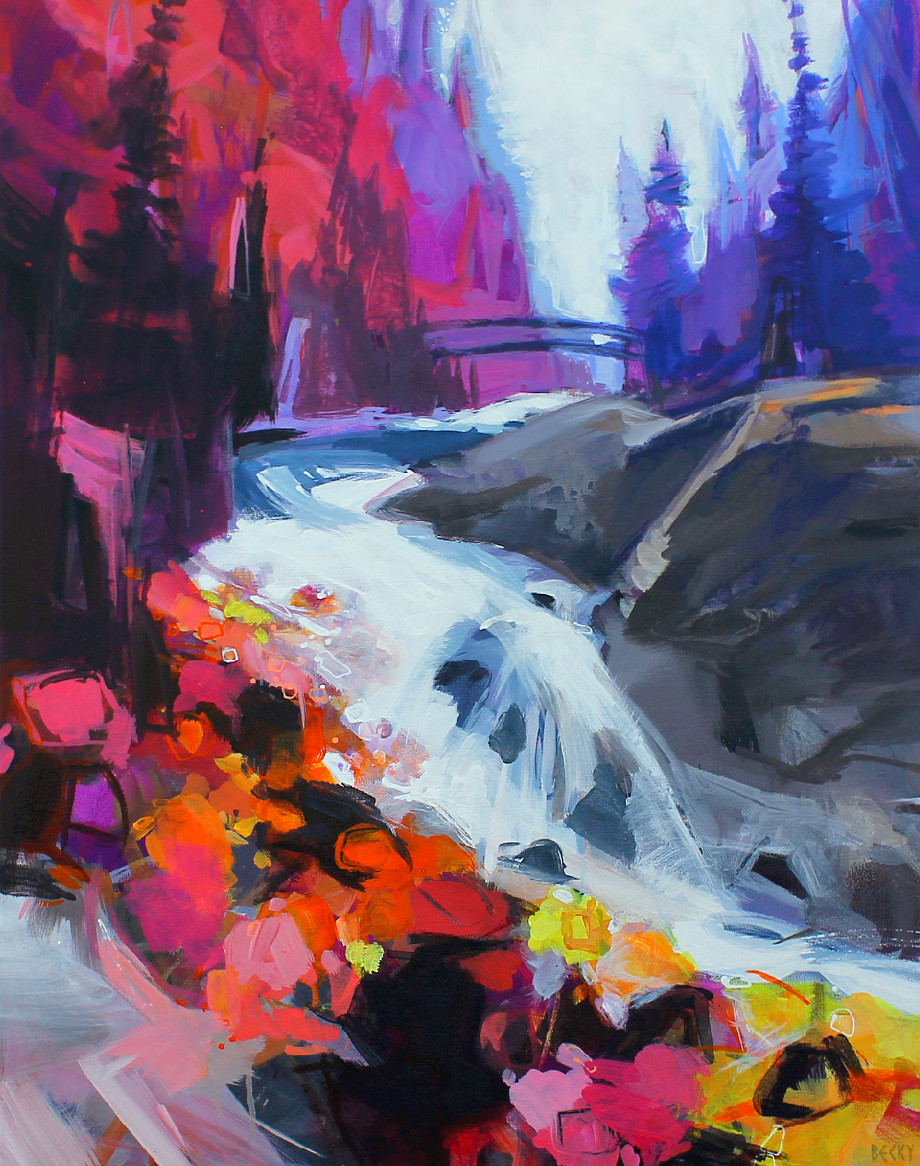 Bridge Over Tumbling Water, acrylic landscape painting by Becky Holuk | Effusion Art Gallery + Glass Studio, Invermere BC
