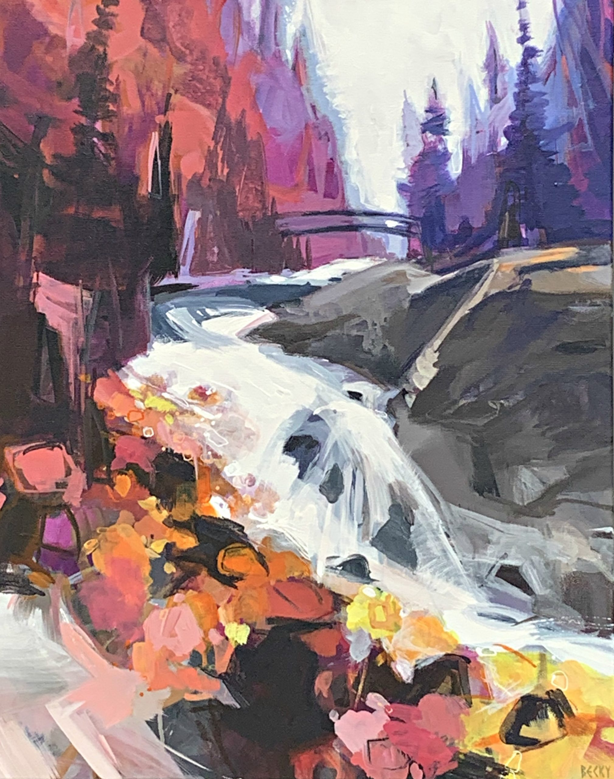Bridge Over Tumbling Water, acrylic landscape painting by Becky Holuk | Effusion Art Gallery + Cast Glass Studio, Invermere BC