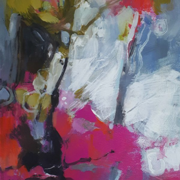 Joy!, acrylic flower painting by Becky Holuk   Effusion Art Gallery + Glass Studio, Invermere BC