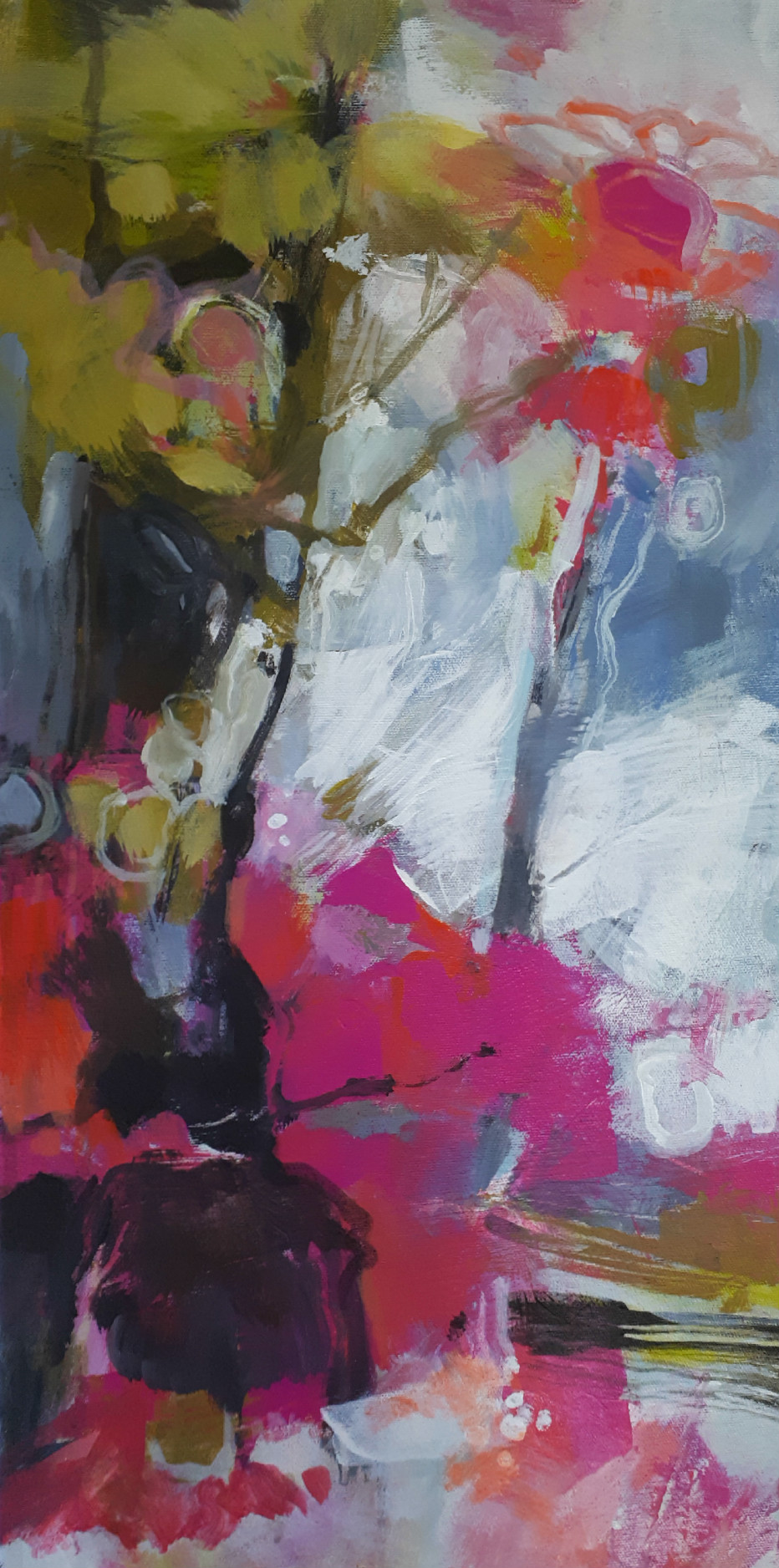 Joy!, acrylic flower painting by Becky Holuk | Effusion Art Gallery + Glass Studio, Invermere BC