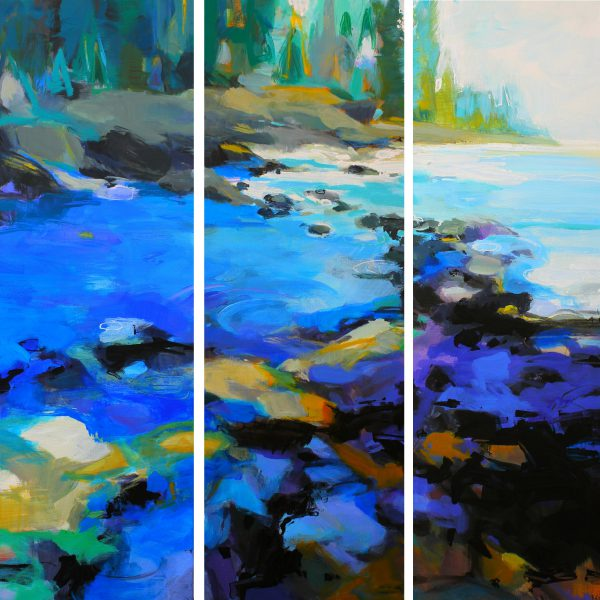 Ocean Blue, acrylic landscape painting by Becky Holuk   Effusion Art Gallery + Glass Studio, Invermere BC