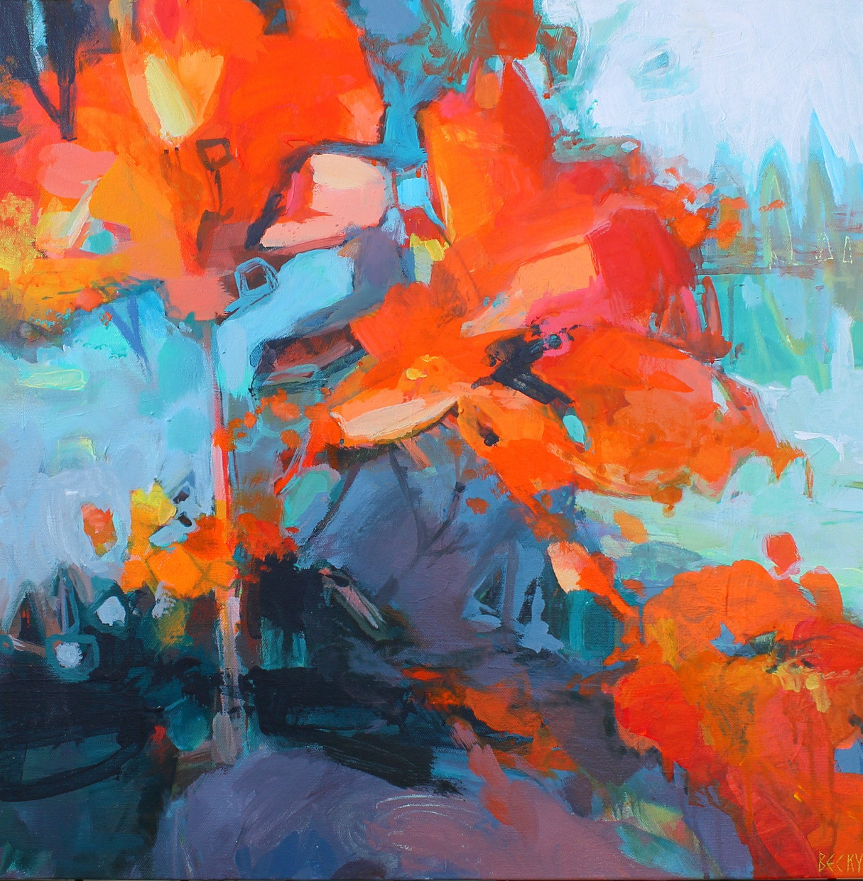 Where are all the Flowers?, acrylic flower painting by Becky Holuk | Effusion Art Gallery + Glass Studio, Invermere BC