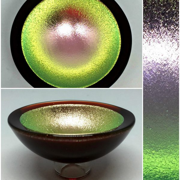 Thing of Beauty 3362, one-of-a-kind multichrome dichroic glass bowl by Jo Ludwig   Effusion Art Gallery + Glass Studio, Invermere BC