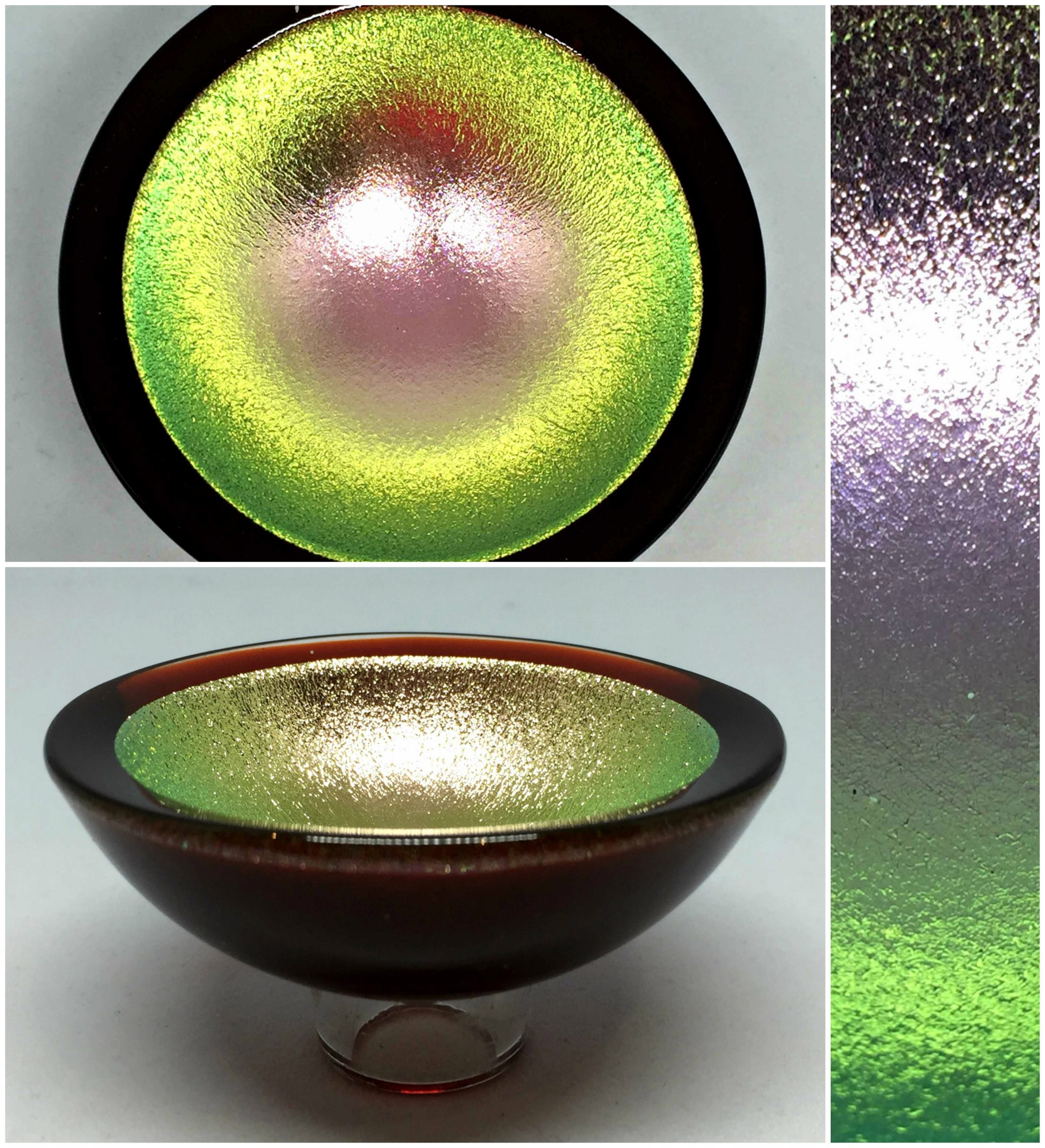 Thing of Beauty 3362, one-of-a-kind multichrome dichroic glass bowl by Jo Ludwig | Effusion Art Gallery + Glass Studio, Invermere BC