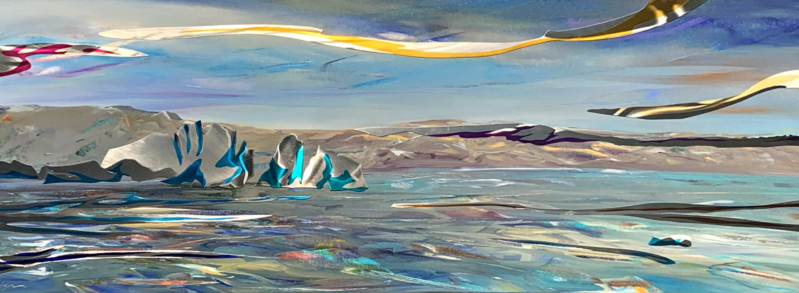 Glacier Bay Solitude, mixed media landscape painting by Joel Masewich | Effusion Art Gallery + Cast Glass Studio, Invermere BC
