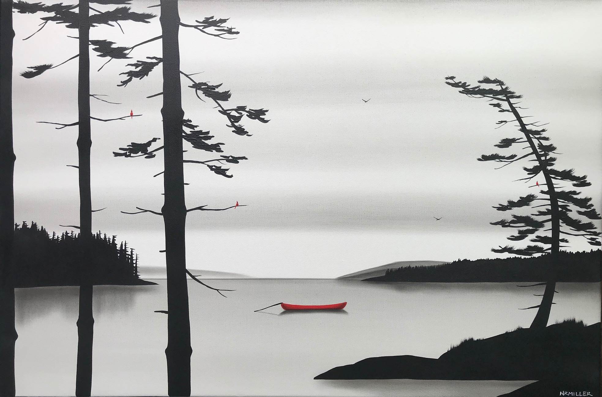 A Cool, Still Morning, mixed media Canadian landscape painting by Natasha Miller | Effusion Art Gallery + Glass Studio, Invermere BC