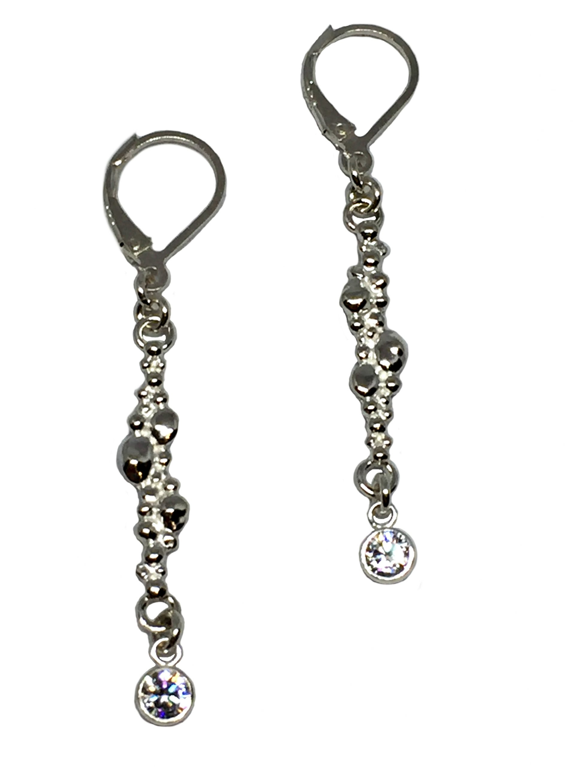Sterling silver and CZ delicate linear drop earrings by Karyn Chopik | Effusion Art Gallery + Glass Studio, Invermere BC