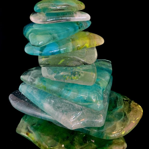 Rocky Mountain Cairn 64, cast glass sculpture by Heather Cuell   Effusion Art Gallery + Cast Glass Studio, Invermere BC