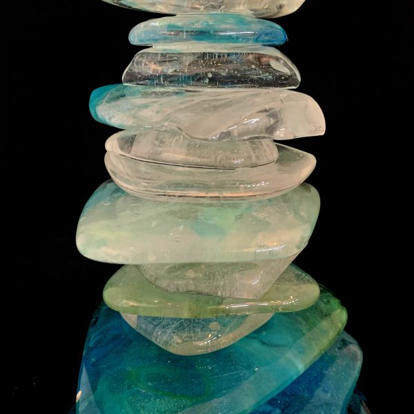 Rocky Mountain Cairn 65, cast glass sculpture by Heather Cuell   Effusion Art Gallery + Cast Glass Studio, Invermere BC