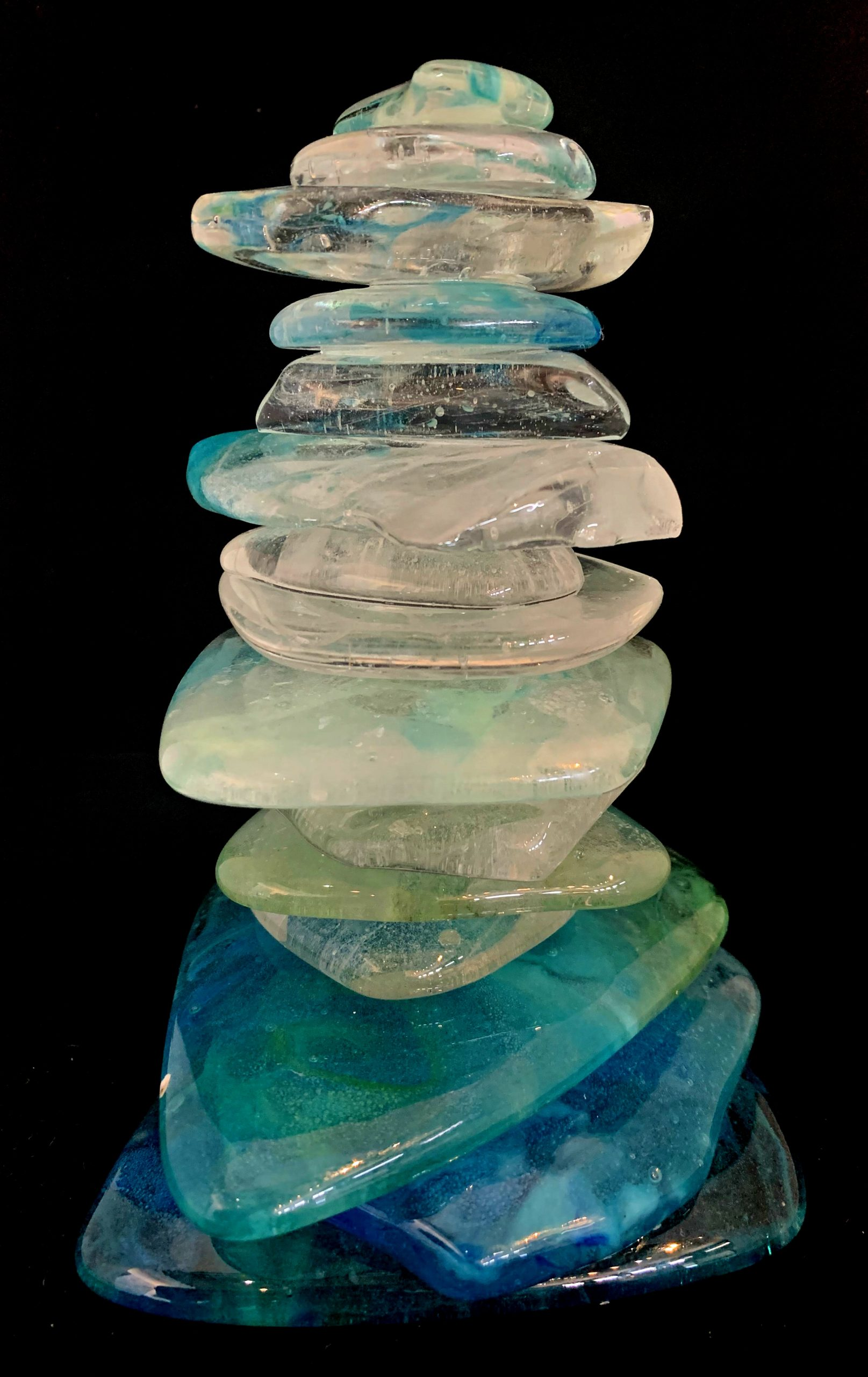 Rocky Mountain Cairn 65, cast glass sculpture by Heather Cuell | Effusion Art Gallery + Cast Glass Studio, Invermere BC