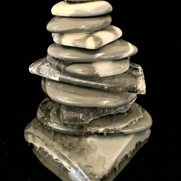 Rocky Mountain Cairn 73, cast glass sculpture by Heather Cuell   Effusion Art Gallery + Cast Glass Studio, Invermere BC