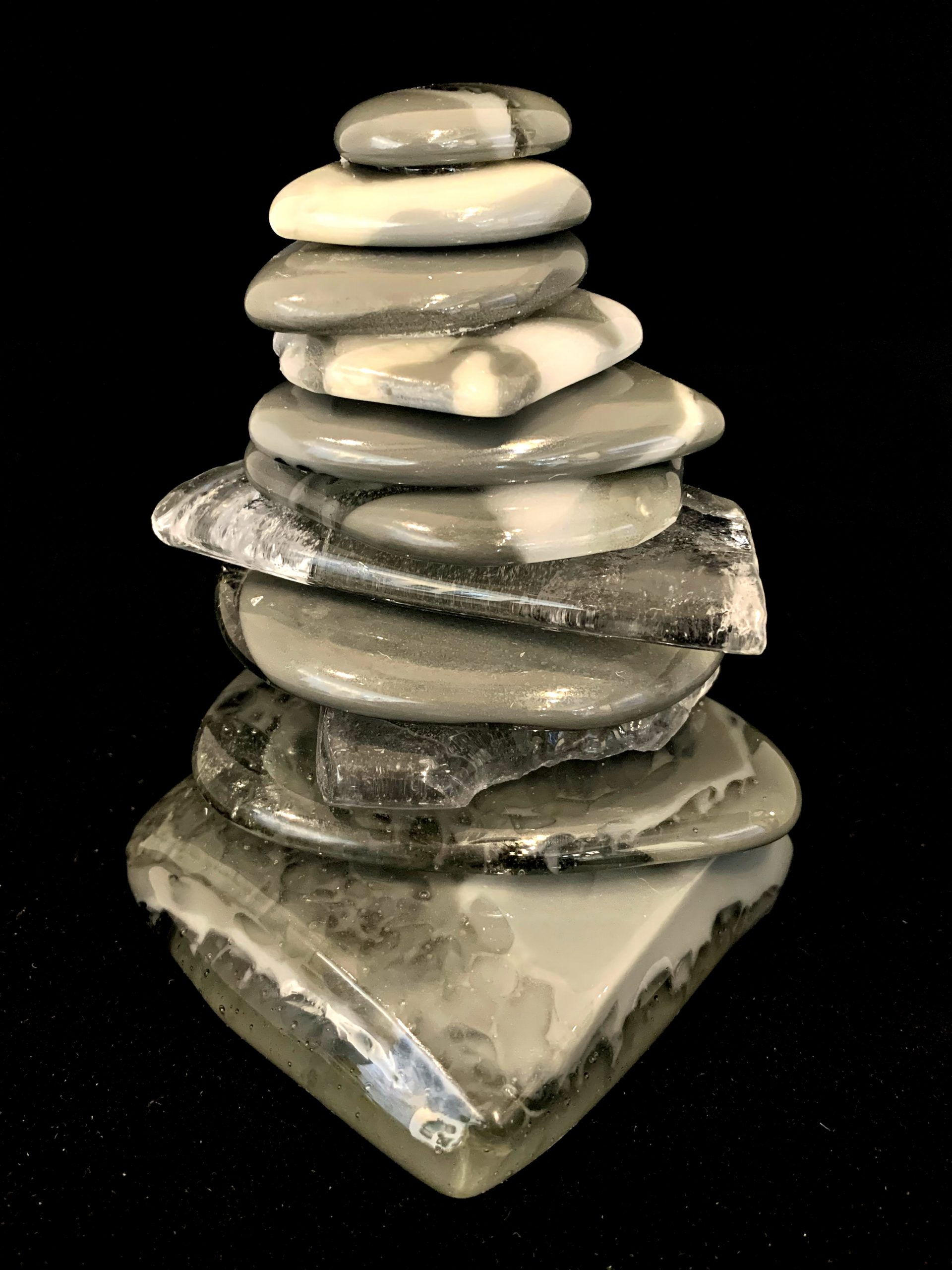 Rocky Mountain Cairn 73, cast glass sculpture by Heather Cuell | Effusion Art Gallery + Cast Glass Studio, Invermere BC