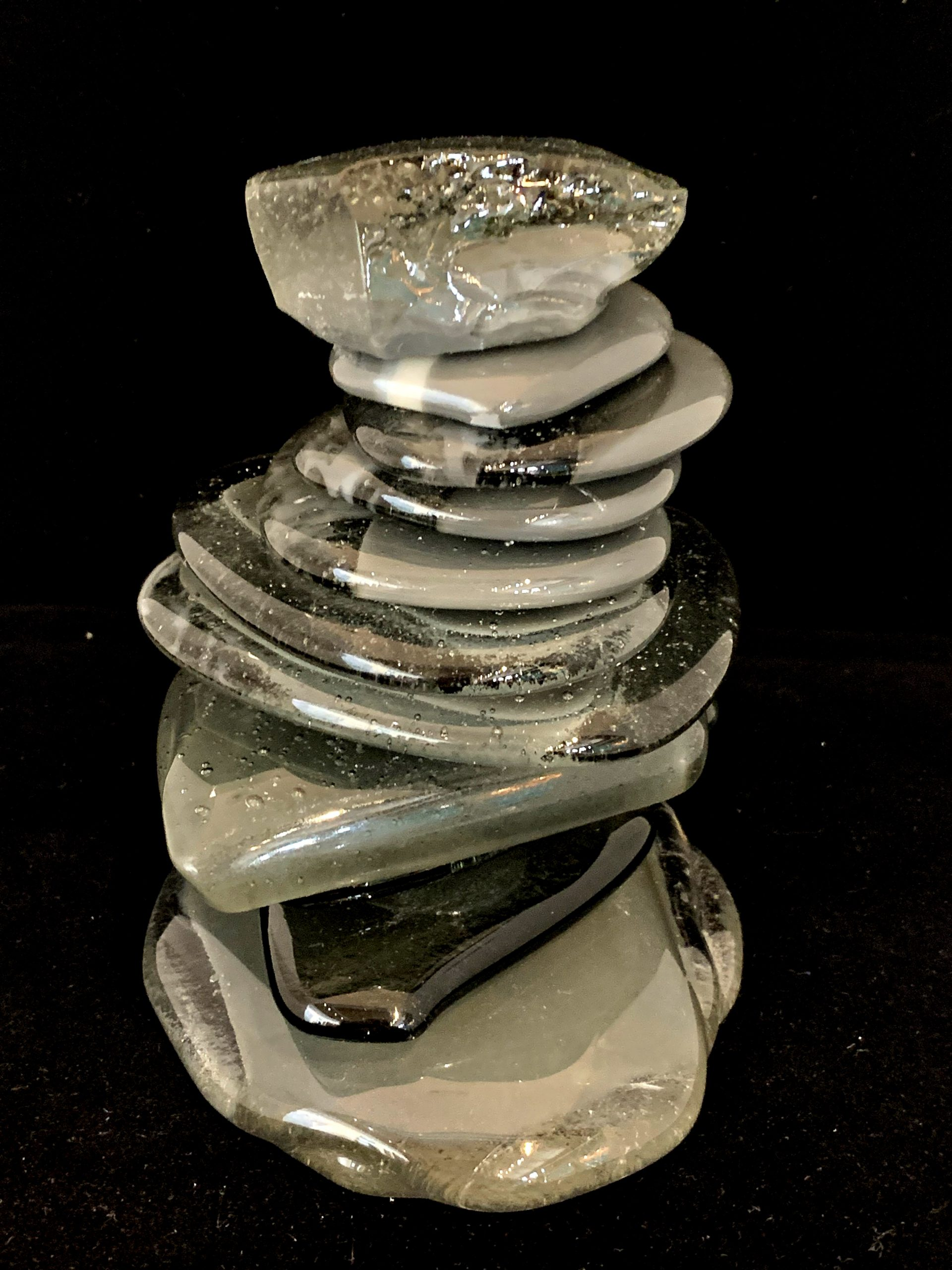 One -of-a-kind cast glass Rocky Mountain Cairn 69 sculpture by Heather Cuell | Effusion Art Gallery + Glass Studio, Invermere BC